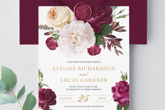 Burgundy flowers wedding invitation template