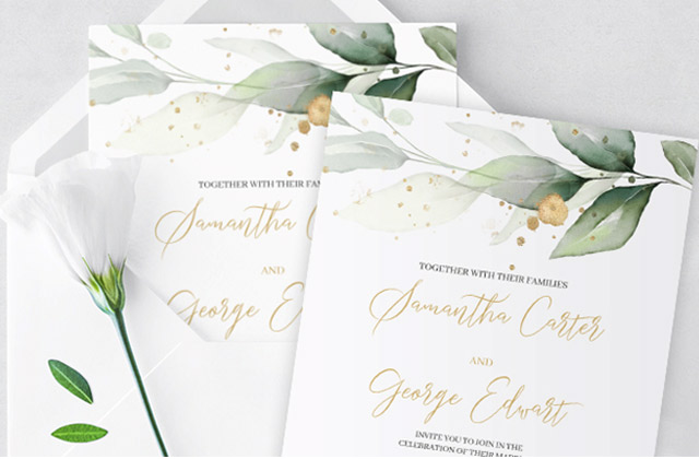 Greenery Eucalyptus wedding invitation