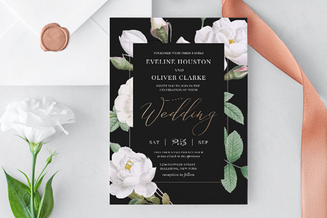 black and white wedding invitation theme