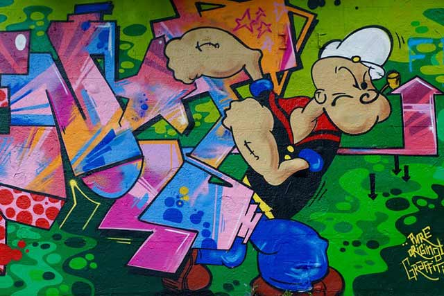 cartoon wall mural Popeye Graffiti